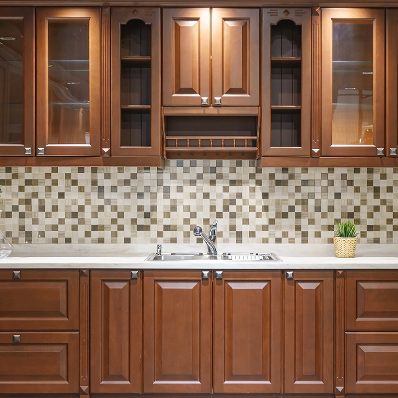 home kitchen interior with wood cabinets