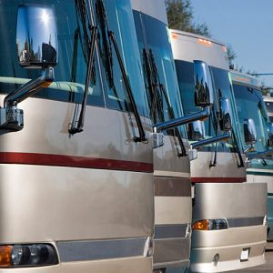 Motor homes in a row